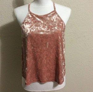 Blush Pink Crushed Velvet Crop Top